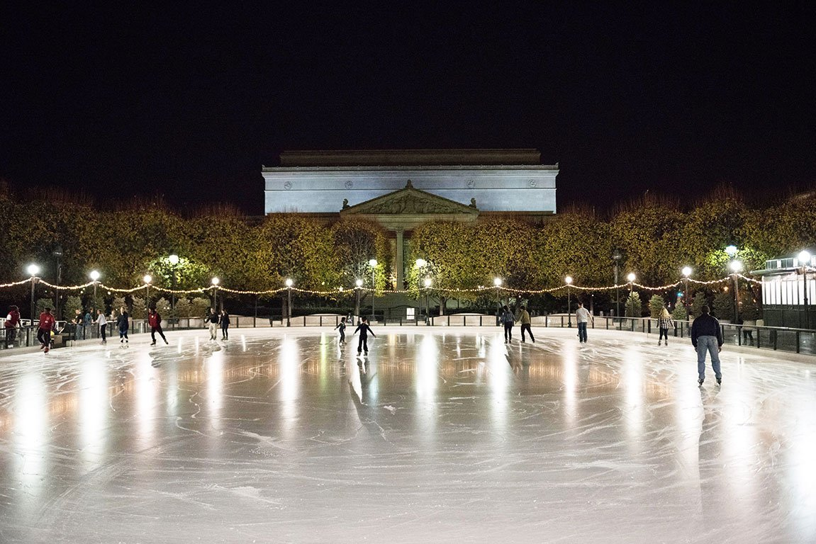 Washington DC Christmas National Galley of art Sculpture Garden Ice Rink