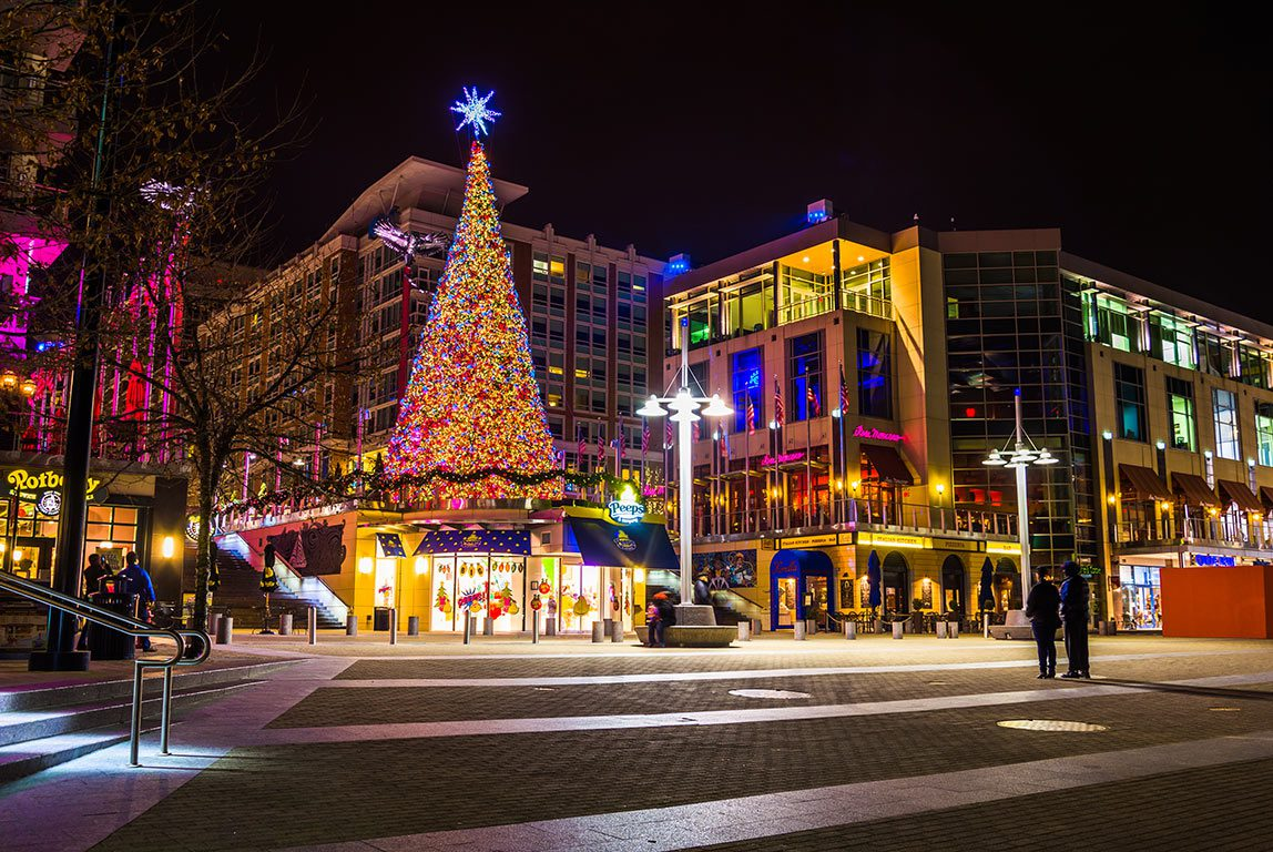 Christmas Lights in National Harbor Maryland