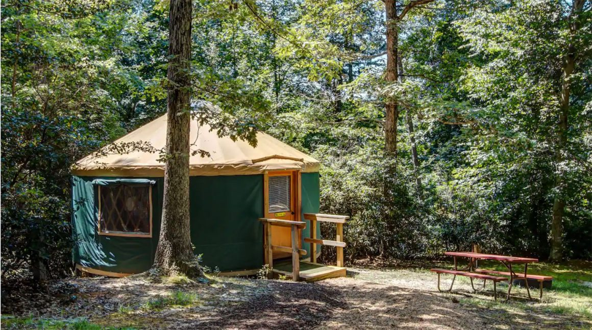Glamping in Virginia - Yurt at Williamsburg KOA