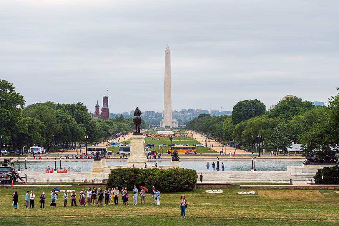 Washington DC National Mall Looking at the Washington Monument