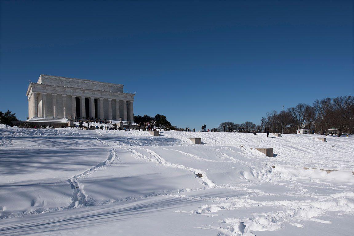 Washington DC Winter Snow- sledding Lincoln Memorial