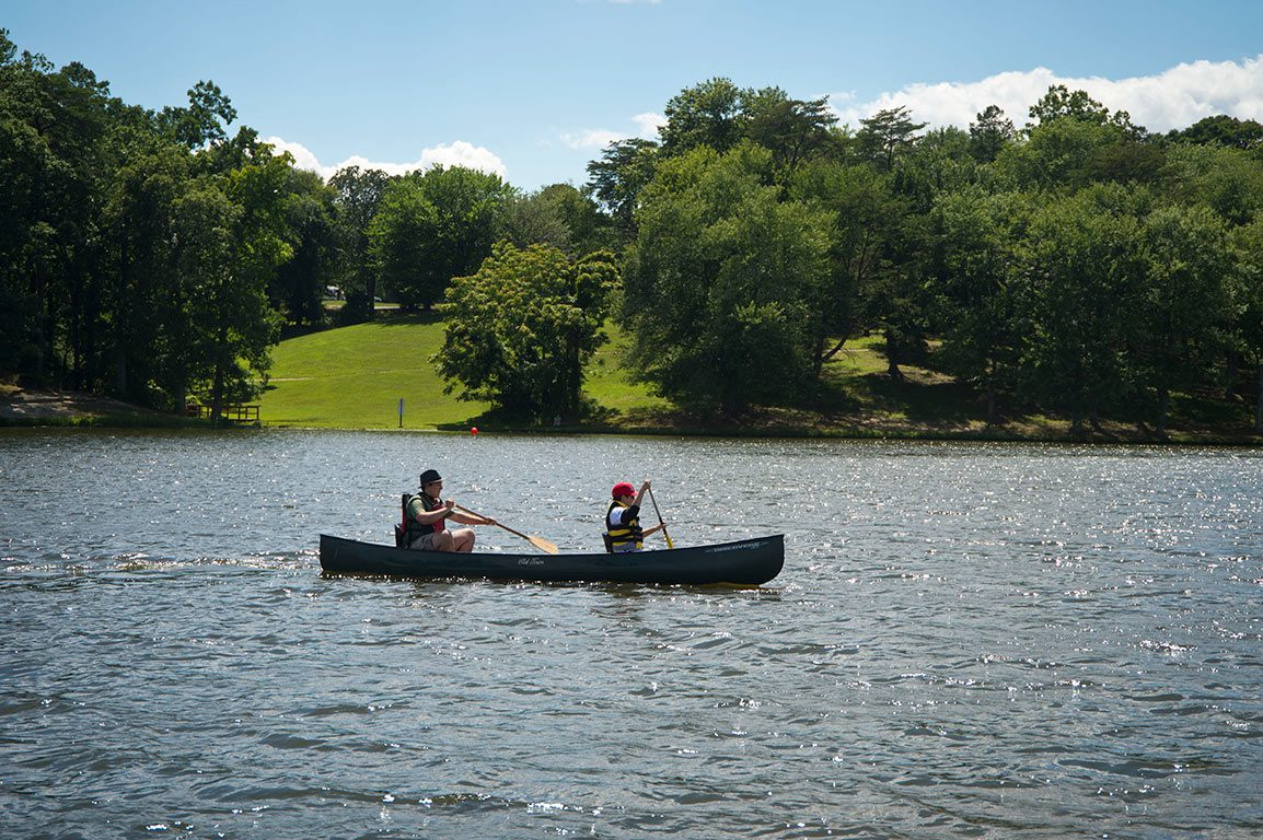 canoe on Lake Fairfax Park in Reston Virginia