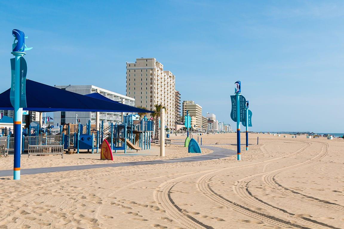 Virginia Beach Oceanfront Grommet Island Beach Park and Playground in Virginia Beach Virginia