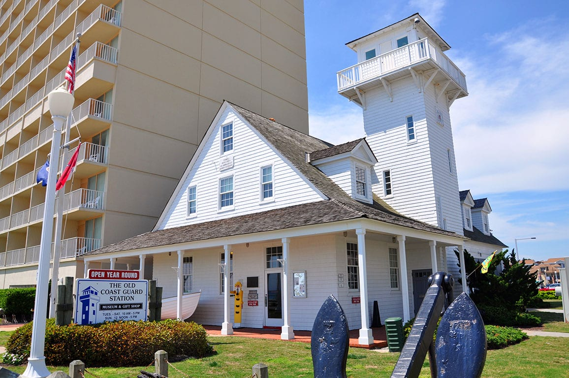 The Old Coast Guard Station at the Virginia Beach Surf and Rescue Museum on the Virginia Beach Oceanfront in Virginia