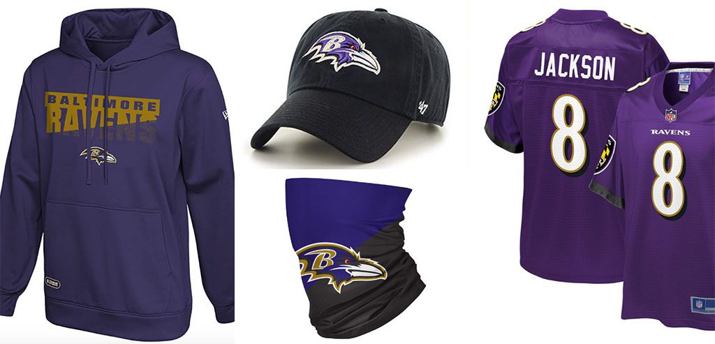 Baltimore Ravens Sports Jersey, hats, face mask, gear, tshirts and hoodies