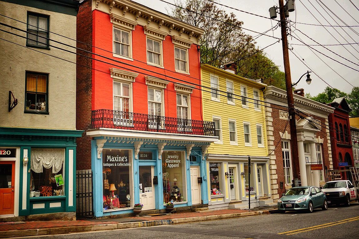ELLICOTT CITY MD - Historic downtown Main Street antique shops