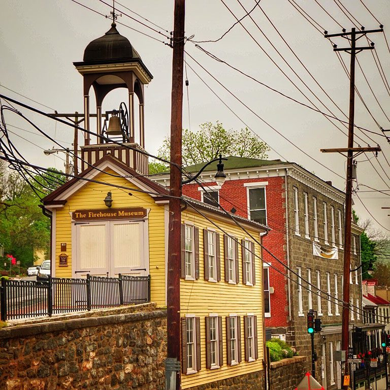 ELLICOTT CITY MD - Historic downtown Main Street-The Fire House Museum