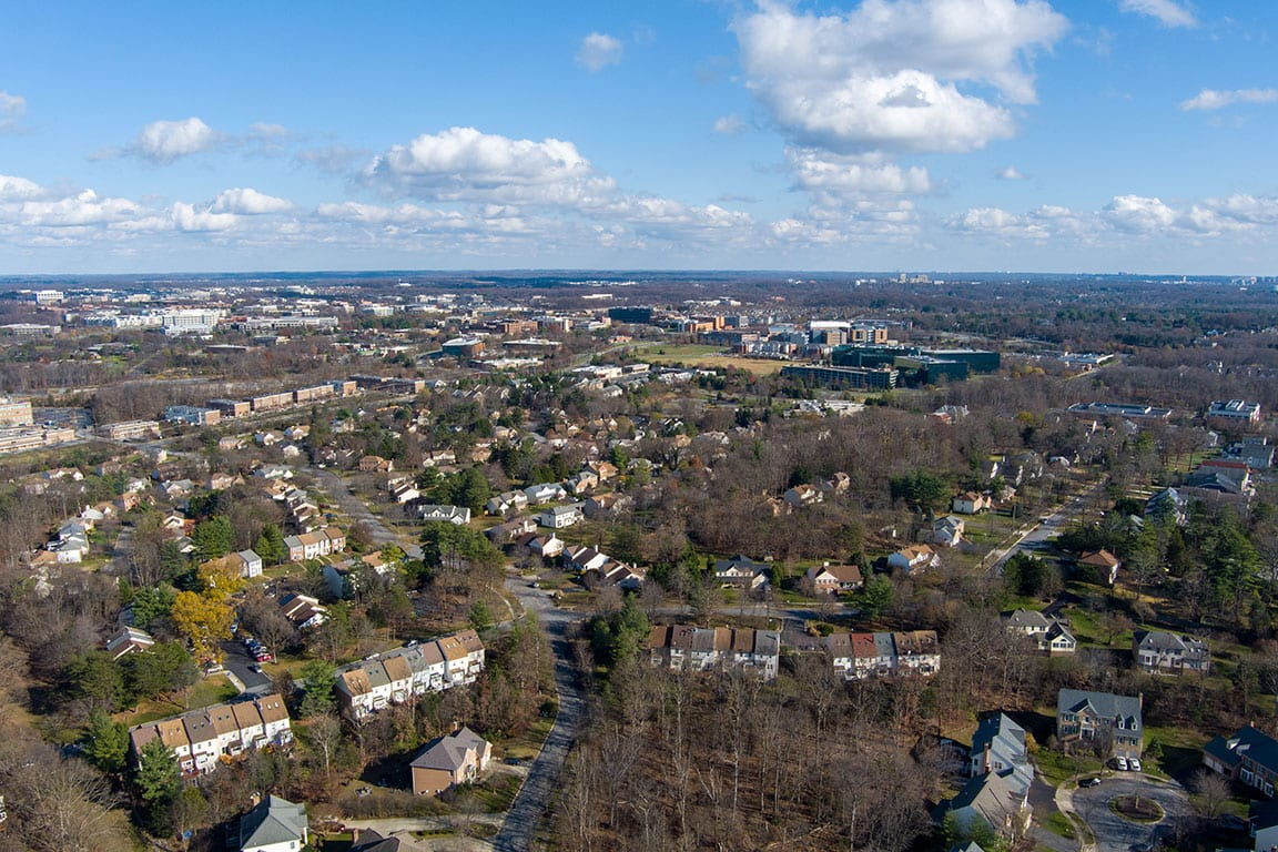 Aerial view of Rockville Maryland