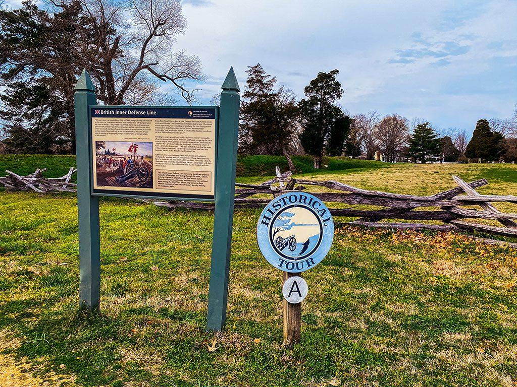 Yorktown Battlefield Virginia driving tour markers