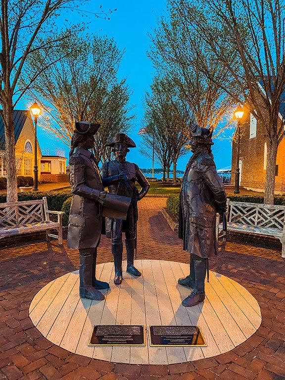 Statues on Water Street in Yorktown Virginia