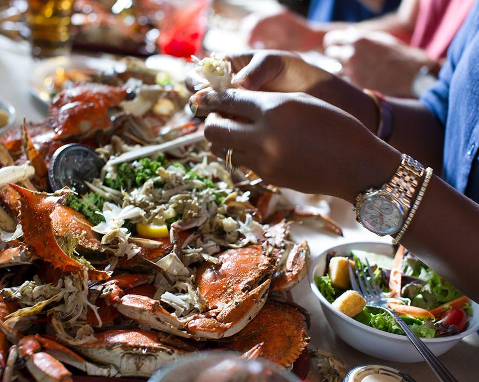 Eating crab in Chesapeake VA