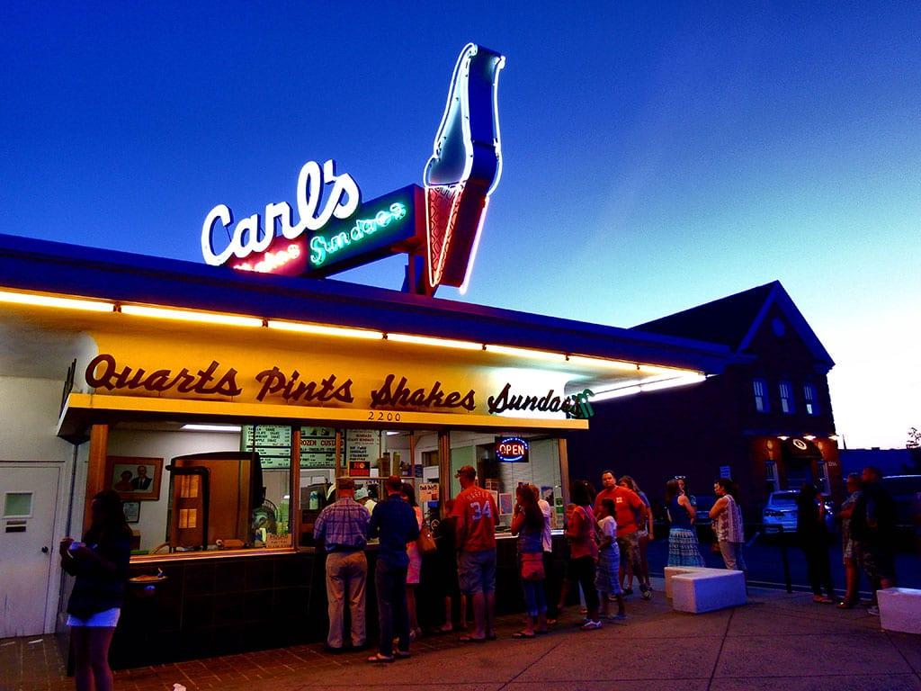 Ice cream in Fredericksburg VA at Carls