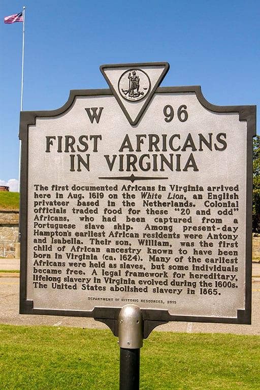 First African in Virginia First Landing Marker in Hampton Virginia