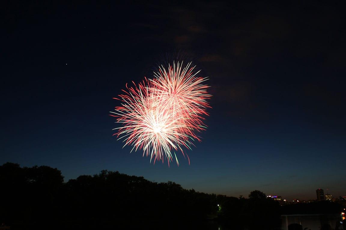 Fireworks at Rockett Landing in Richmond VA