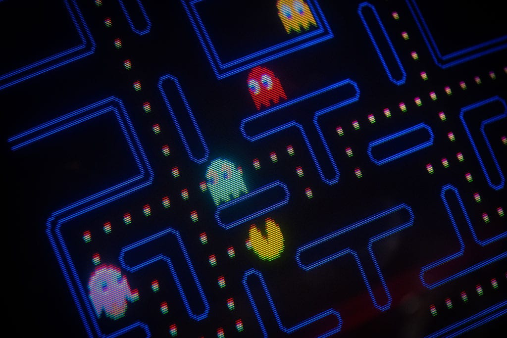 Washington DC Date night ideas at an arcade with Pac-Man video game