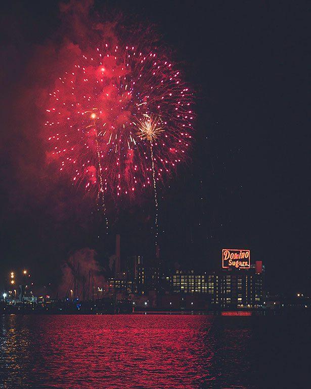 Fireworks at the Inner Harbor Baltimore Maryland