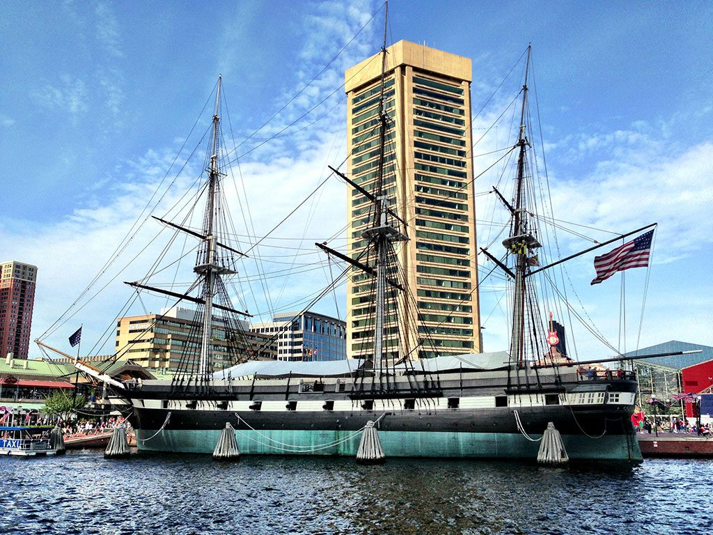 The USS Constellation and the World Trade Center at the Inner Harbor Baltimore Maryland