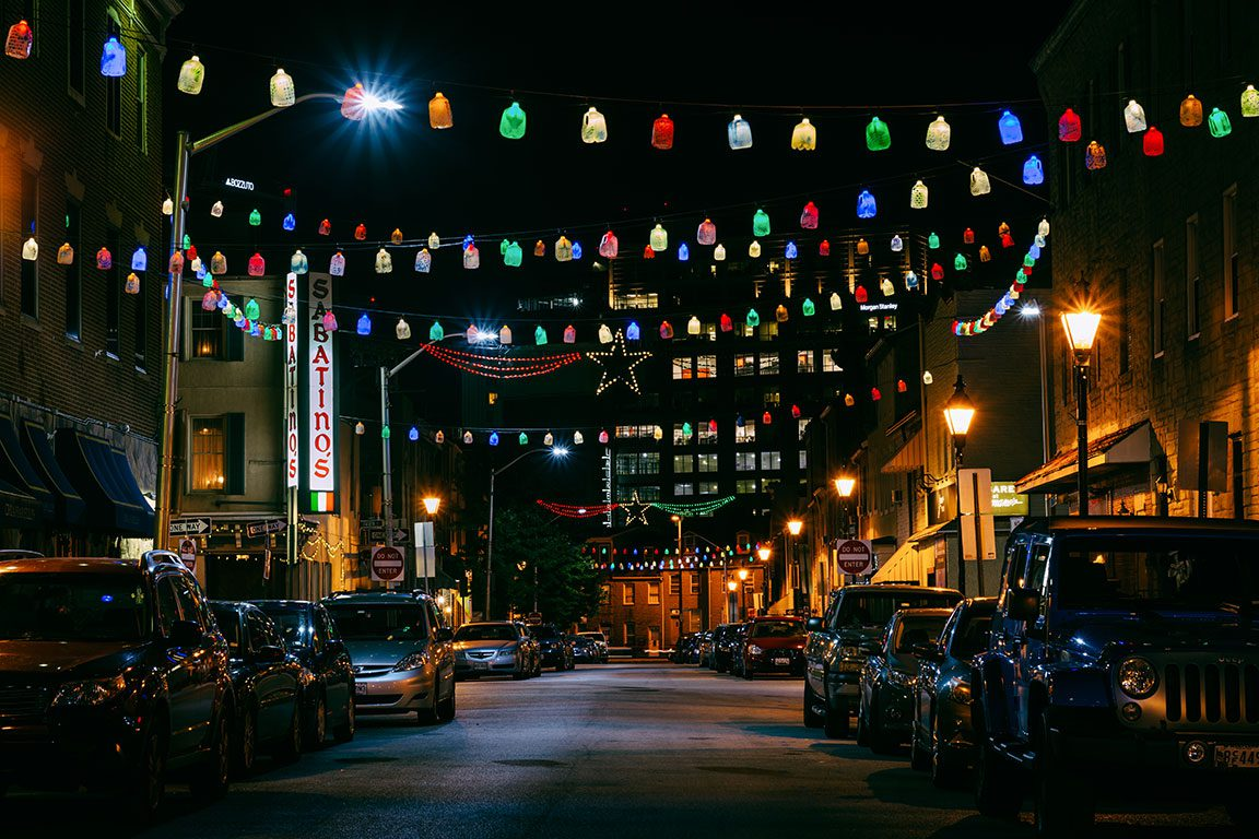 Little Italy at night in Baltimore MD