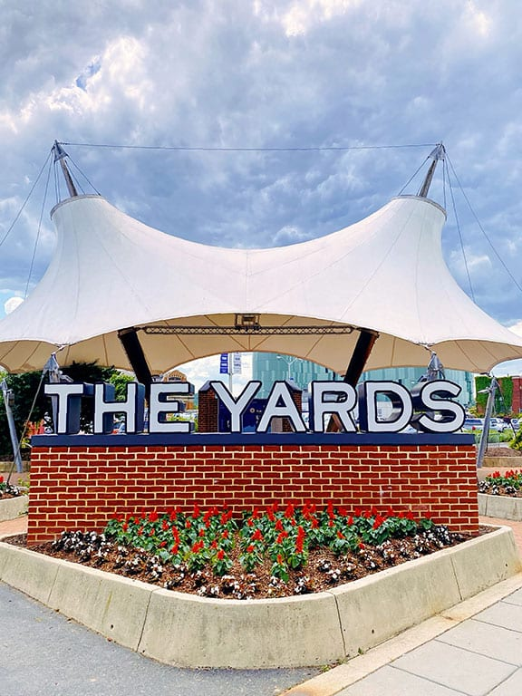 The Yards neighborhood sign in Washington DC